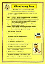 English Worksheet: LISTENING: GIANT HONEY BEES + KEY