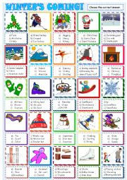 English Worksheet: Winter: Multiple choice activity