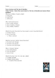 English Worksheet: Percy Jackson and The Sea of Monsters Chapter 1 Reading Comprehension