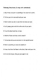 English Worksheet: Following Directions (2-Step, 3-Step, with pictures)