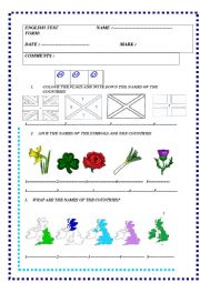 English Worksheet: English speaking countries : test