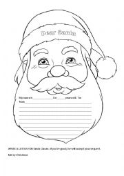 English Worksheet: LETTER FOR SANTA CLAUS