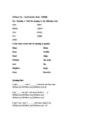 English Worksheet: Without You David Guetta