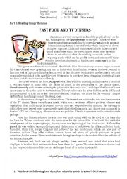 English Worksheet: Reading worksheet: Fast Food and TV Dinners