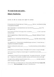 English Worksheet: If I never knew you -  Pocahontas