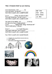 English Worksheet: Song. What a wonderful world by Louis Armstrong