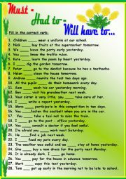 English Worksheet: Must - Had to - Will have to...