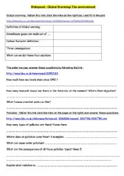 English Worksheet: Webquest environmental problems