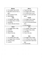English Worksheet: What am I? (Animals card game)