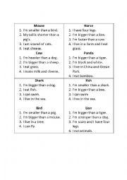 English Worksheet: What am I? (Animals card game)