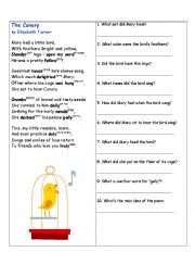 English Worksheet: The Canary - learn poems by heart