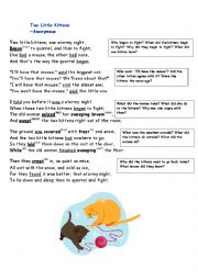 English Worksheet: The two little kittens - a poem