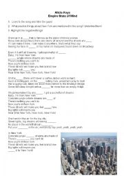 English Worksheet: Alicia Keys-Empire State of Mind