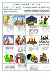 English Worksheet: CHRISTMAS VOCABULARY (with key)