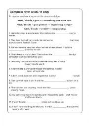 English Worksheet: Wish / If only