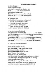 English Worksheet: Song worksheet - Wonderwall by Oasis