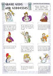 English worksheets: Greek Gods and Goddesses