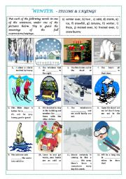English Worksheet: WINTER IDIOMS AND SAYINGS (with key)