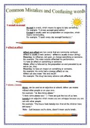 English Worksheet: Common Mistakes and Confusing Words