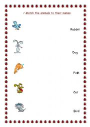 English Worksheets: matching exercise with animals