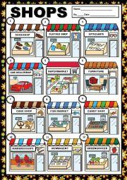 English Worksheet: SHOPS