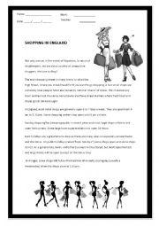 English Worksheet: Shopping in England