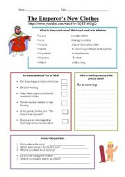 English Worksheet: The Emperor�s New Clothes Wsh