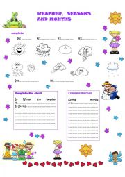 English Worksheet: Weather,seasons and months