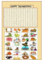 English Worksheet: Thanksgiving : picture wordsearch