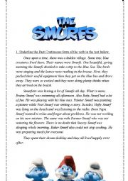 English Worksheet: Past Continuous - The Smurfs
