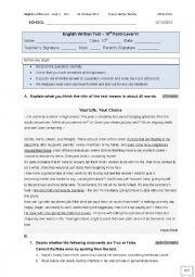 English worksheet: English test