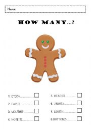 English Worksheet: Gingerbread Man - Body parts: How many...?