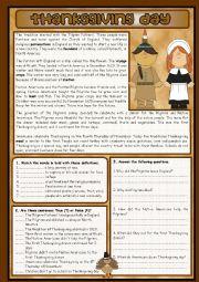 English Worksheet: THANKSGIVING DAY