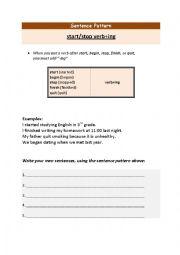 English Worksheet: start stop verbing