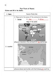 English Worksheet: Fast Facts of Russia