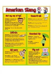 English Worksheet: AMERICAN SLANG PART 2
