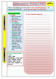 English Worksheet:  Writing a story (Group A): Differentiated instruction