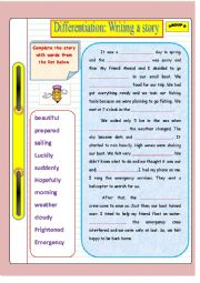 English Worksheet: Writing a story (Group B) : Based on differentiated instruction
