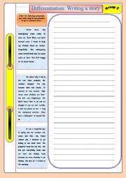 English Worksheet: Writing a story (group c): based on differentiated instruction