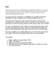English Worksheet: Antibiotics and threat to modern medicine