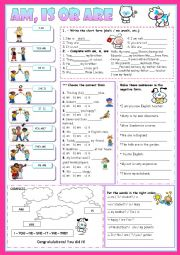 English Worksheet: Am, is or are- For kids