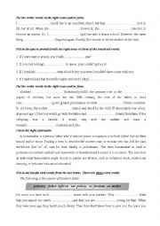 English Worksheet: Review for the end of term test