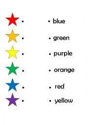 English Worksheet: Matching Rainbow Colours
