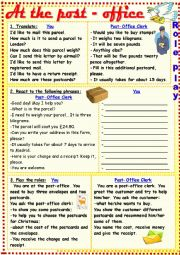 English Worksheet: At the post-office (a role-play)