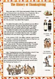 English Worksheet: The History of Thanksgiving