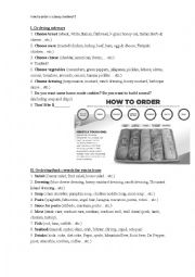 English Worksheet: How to order a subway sandwich?