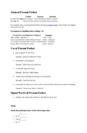 Present Perfect explaination with exercise