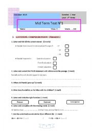 English Worksheet: 1 st form (First)  Mid-Term Test 1 (Tunisia)