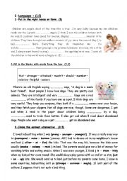 English Worksheet: 9th grade Mid Term Test N� 1