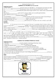 English Worksheet: Narrative tenses, conditional I, II, word building, passive voice, future with key